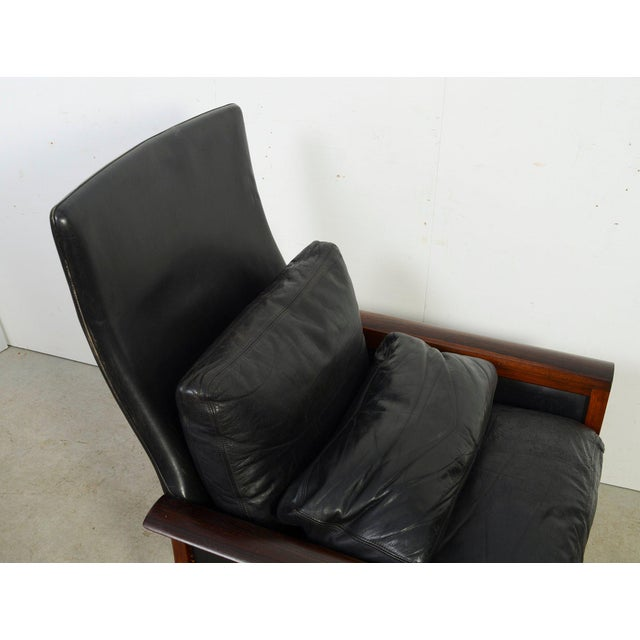 Hans Olsen Knut Saeter Vatne Mobler Rosewood Leather High Back Chair For Sale In Washington DC - Image 6 of 8