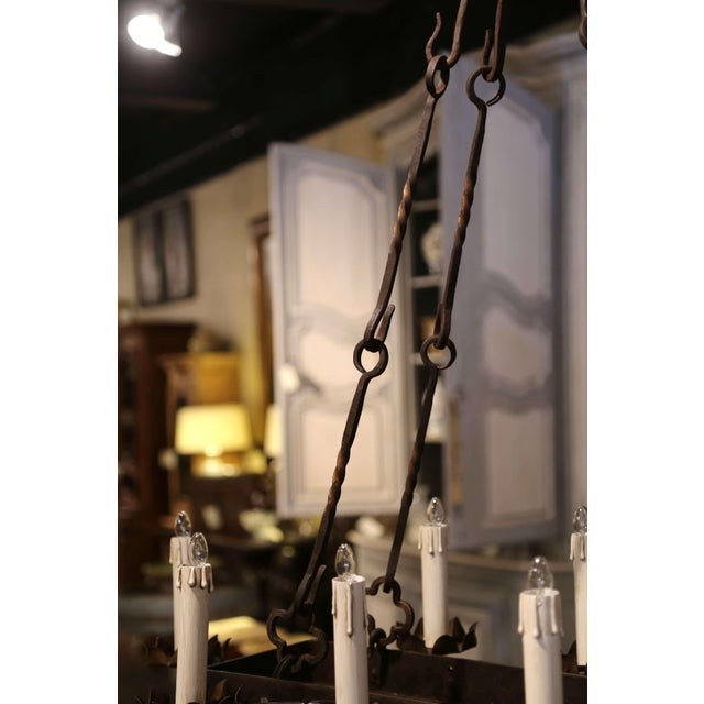 19th Century French Gothic Forged Iron Ten-Light Chandelier For Sale - Image 12 of 13