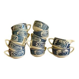 Vintage Blue & White Ceramic Cups, Sugar Bowl, Set of 12 For Sale