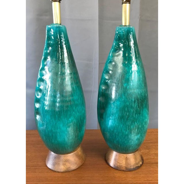 Marcello Fantoni Marcello Fantoni Turquoise Table Lamps - A Pair For Sale - Image 4 of 9