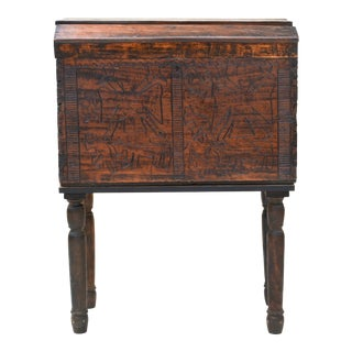 Spanish Colonial Wood Carved Chest For Sale