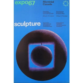 1967 Vintage Montreal Expo 67 Poster, International Exhibition of Fine Arts, Sculpture For Sale