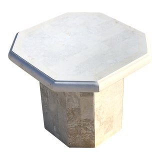 1980s Modern Octagon Shaped Tessellated Solid Stone Side Table For Sale