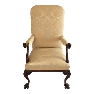 Vintage Chippendale Arm Chair with Hand Carved Faces & Claw Foot