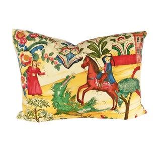 """Vintage Lorenzo Rubelli Tsarevich Italian Toile Pillow """"Rescue From Dragon"""""""