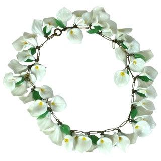 Italian Venetian Glass Calla Lily Necklace For Sale