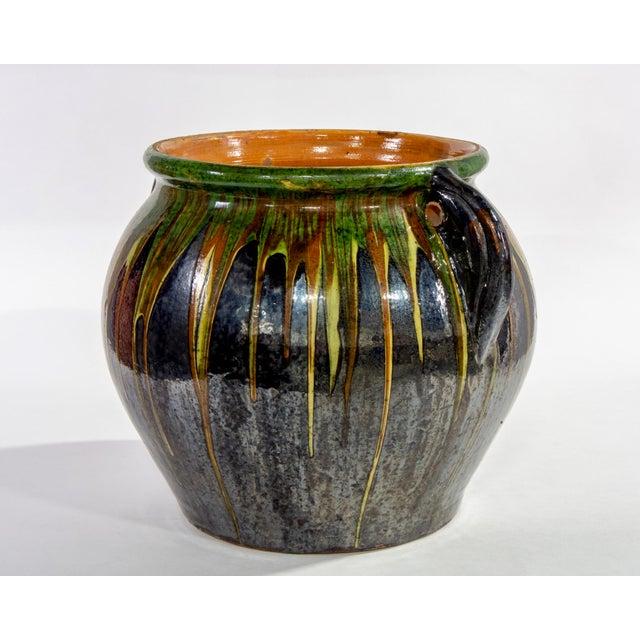 Mid-Century Modern Large European Drip Glaze Black Ceramic Pot For Sale - Image 3 of 11