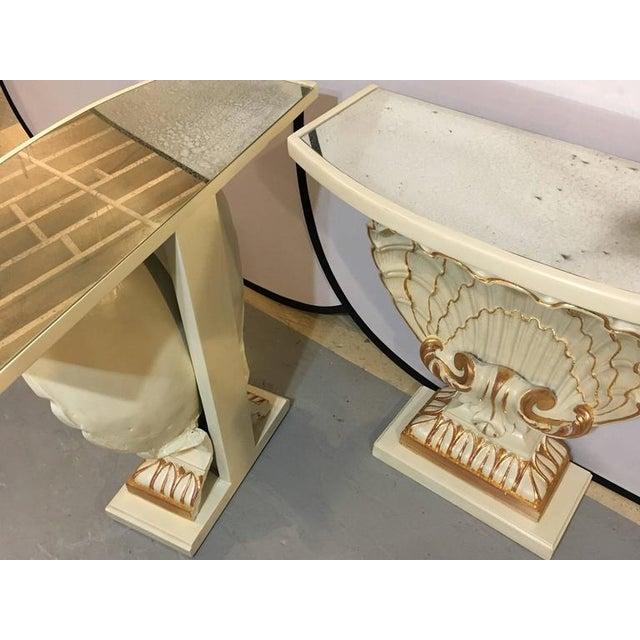 Jansen Shell Form White & Parcel Gilt Demi Lune Consoles - A Pair - Image 7 of 9
