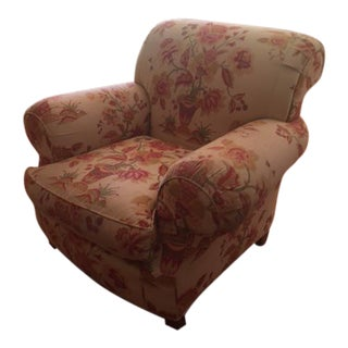Custom Floral Fabric Baker Club Chair