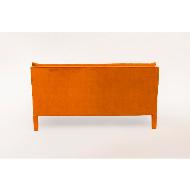 Modern Milo Baughman Style Parsons Sofa Reupholstered in Orange Velvet For Sale - Image 3 of 6