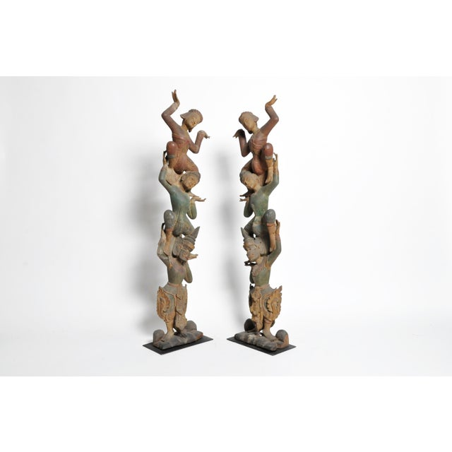 Hand-Carved Thai Dancers For Sale - Image 4 of 11