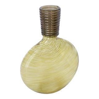 Olive Art Glass Vase Signed Studio Pardew For Sale