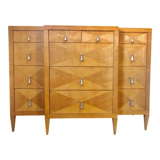 Mid-Century Modern Satinwood Dresser by Baker For Sale