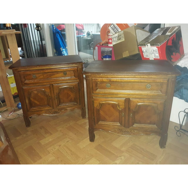 Pair of side tables/night stands from Drexel Furniture Company. Original manufacturer's stamps on back of both tables...