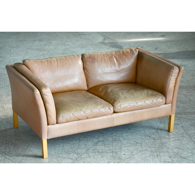 Danish Loveseat in Butterscotch Worn Leather by Stouby Mobler For Sale - Image 12 of 12