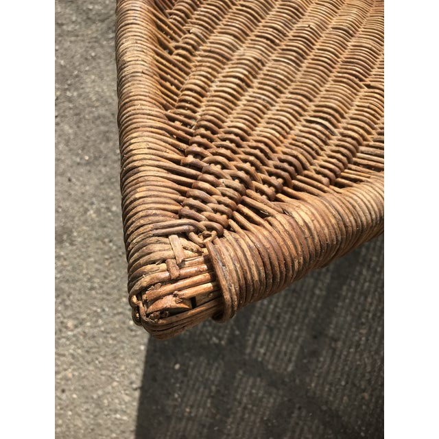 1930s Lina Zervudachi for Elsa Schiaparelli Rattan Bamboo and Brass Wicker Fish Chaise Lounge Chair For Sale - Image 12 of 13