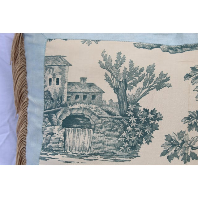 20th Century French Blue Toile Very Soft Down Pillow For Sale - Image 11 of 13