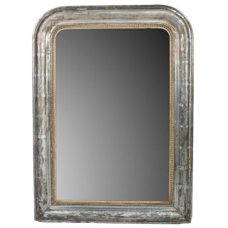 Small Silver Frame Mirror With Gold Bead Trim For Sale