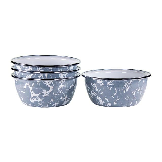 Modern Salad Bowls Grey Swirl - Set of 4 For Sale - Image 3 of 3