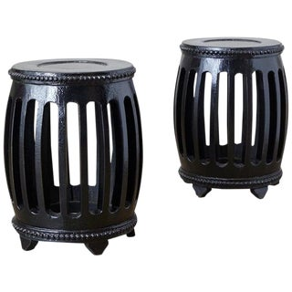 Pair of Chinese Lacquered Garden Stools or Drink Tables For Sale