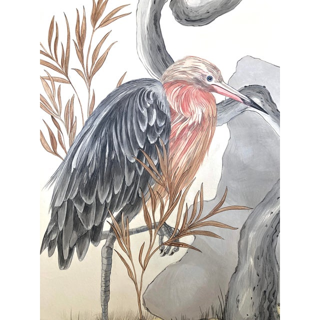 """Chinoiserie Style Bird Painting, """"I've Never Been More Shore"""" For Sale In Los Angeles - Image 6 of 9"""