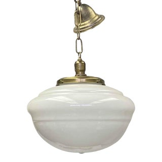Antique Milk Glass Schoolhouse Pendant Light With Original Fitter For Sale