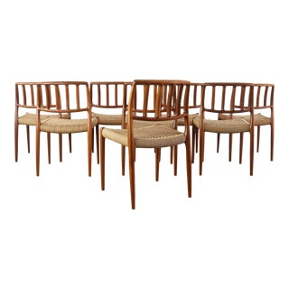 Niels Moller for J.L. Møllers Møbelfabrik Model #83 Teak Dining Chairs with Danish Cord - A Set of 10, Denmark For Sale