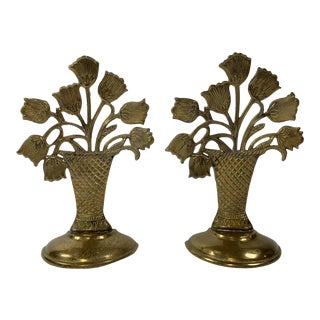 Brass Tulips in Basket Bookends - a Pair For Sale