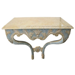 An Elegant Custom-Made Italian Baroque Style Aqua and Ochre Painted Console Table With Marble Top For Sale