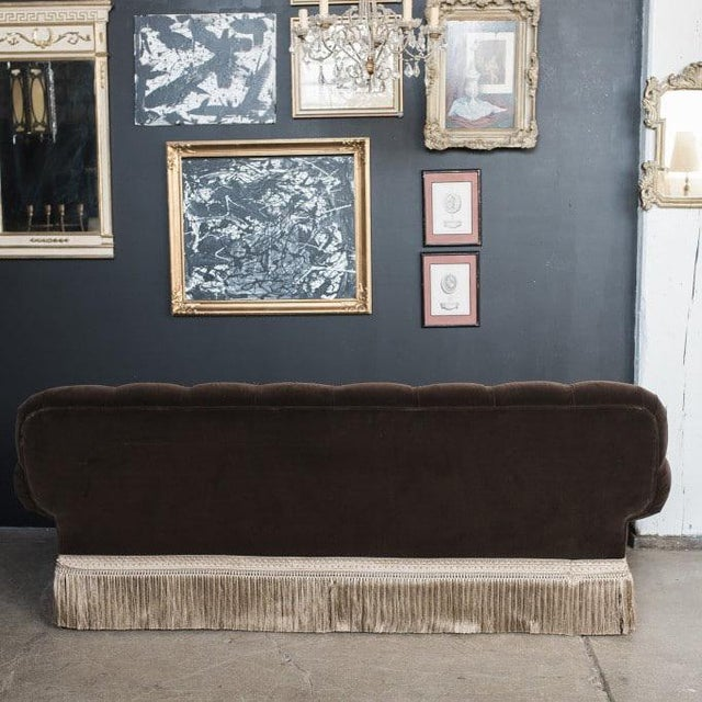 Mocha Brown Velvet Tufted Chesterfield With Fringe by Century Furniture For Sale In Chicago - Image 6 of 13