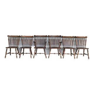 Temple Stuart Colonial Style Arrow Back Solid Maple Dining Chairs - Set of 6 For Sale