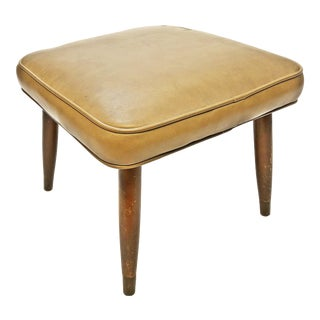 Mid Century Modern Brown Vinyl Foot Stool