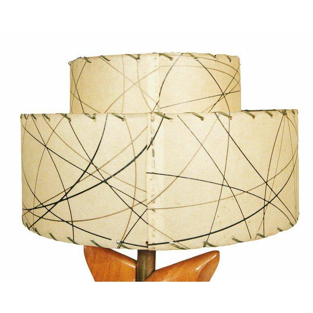 Yasha Heifetz Free-Form Oak and Brass Table Lamps, Pair - Image 3 of 7