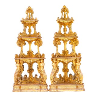 19th C. Venetian Carved Giltwood Corner Cabinets For Sale