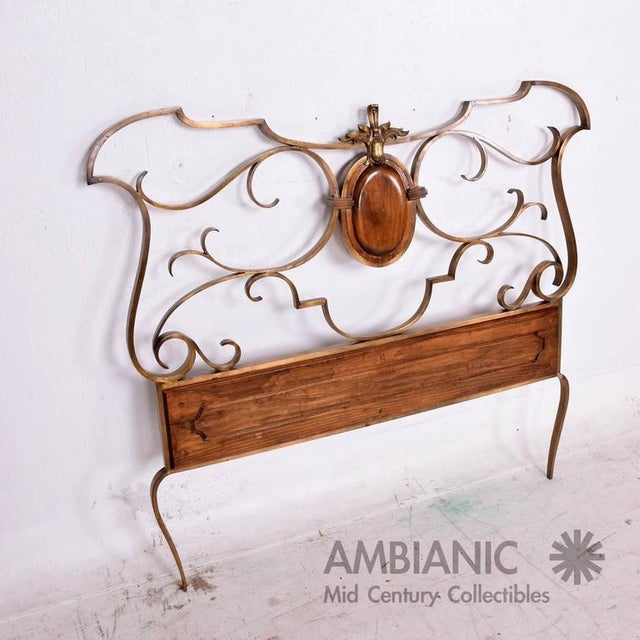 For your consideration a single headboard in solid bronze and solid wood. Sculptural forms. Amazing quality. There are two...