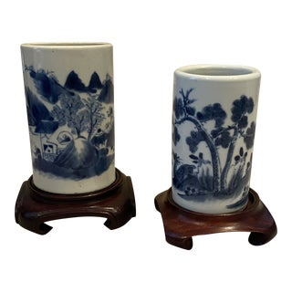 Vintage Chinoiserie Brush Pots on Wood Stands - Set of 2 For Sale