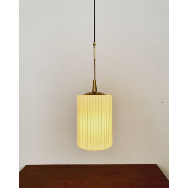 Metal Mid-Century Modern Opaline Glass and Brass Pendant Lamp For Sale - Image 7 of 11