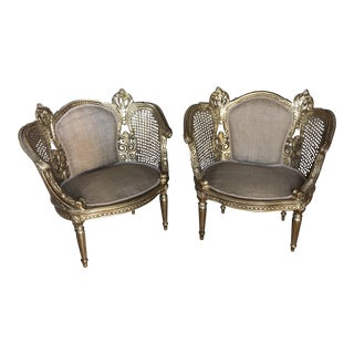 French Gilded Caned Burlap Chairs - a Pair For Sale