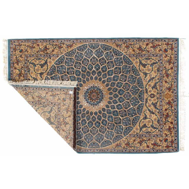 Pasargad Persian Isfahan Korker Wool & Silk Highlighted Rug - 5′0″ × 7′5″ For Sale - Image 4 of 5