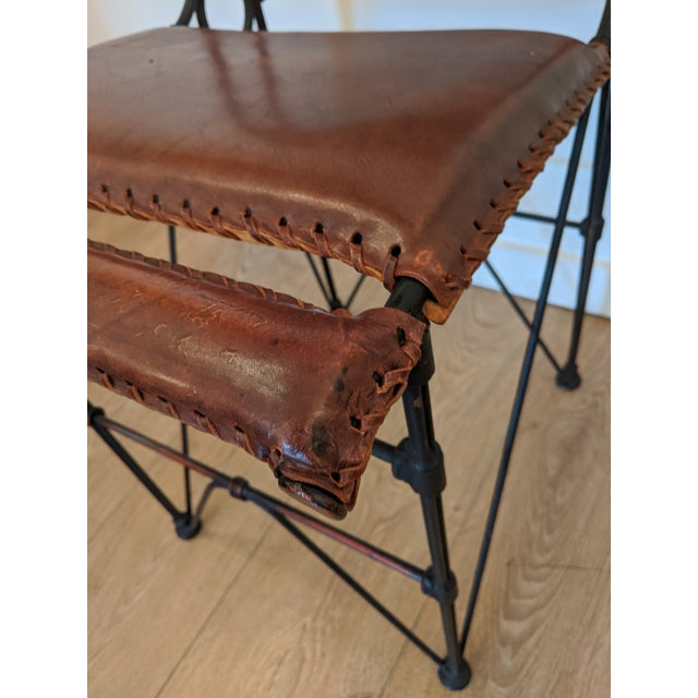 1970s Brutalist Pair of Industrial Leather and Iron Barstools by Ilana Goor. For Sale - Image 5 of 9