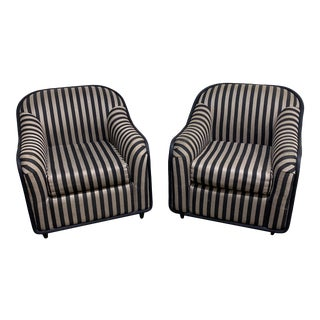 """Fendi"" Striped Club Chair's - a Pair For Sale"