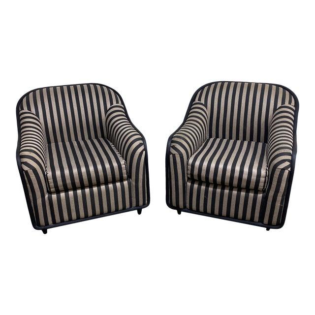 """""""Fendi"""" Striped Club Chair's - a Pair For Sale"""