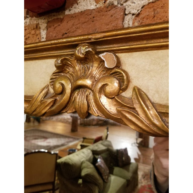 Early 20th Century 1930s French Painted and Gilt Gesso Waldorf Astoria Mirror For Sale - Image 5 of 9