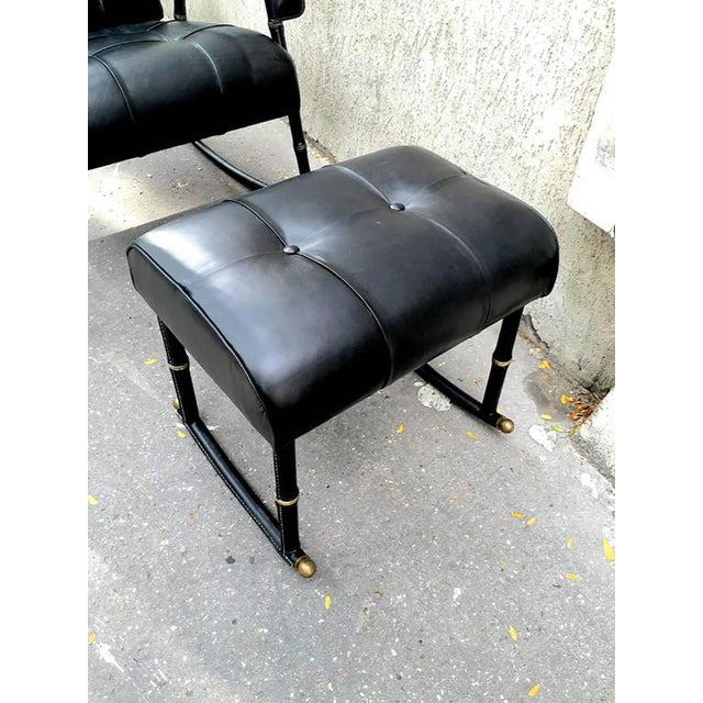 Jacques Adnet Rare Rocking Chair and Footstool in Black Hand-Stitched Leather For Sale - Image 6 of 9