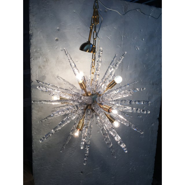 """Gold flecked Chandelier or Pendant Light with a gold frame and Murano glass. The fixture is in the classic """"Sputnik""""..."""