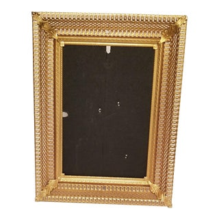 Vintage Gold Plated Picture Frame With Glass Grated Edges For Sale