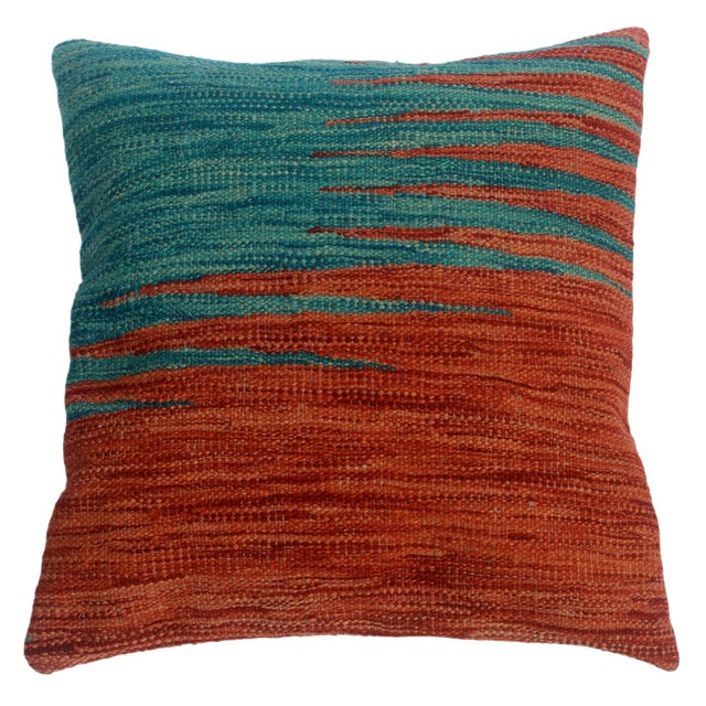 """Despina Rust/Blue Hand-Woven Kilim Throw Pillow(18""""x18"""") For Sale"""