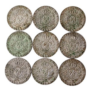 Vintage Louis XVI 1788 Replica Coin Coasters - Set of 9