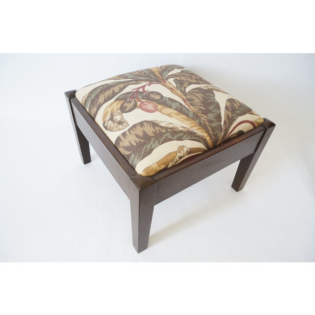 Mid-Century Footstool Low Bench Mahogany With Palm Frond Motif Upholstery For Sale - Image 12 of 12