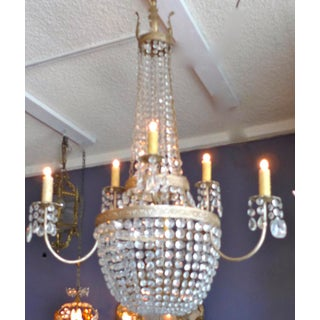 French 1950s Basket Crown Crystal Chandelier Preview